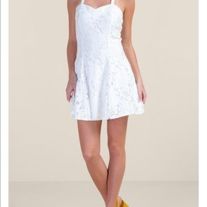 White lace dress worn once from francesca's